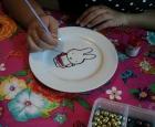 Babyshower servies schilderen