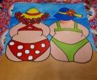 Schilderij gemaakt tijdens de workshop Dikke Dames schilderen